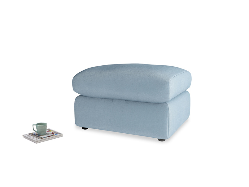 Chatnap Storage Footstool in Chalky blue vintage velvet