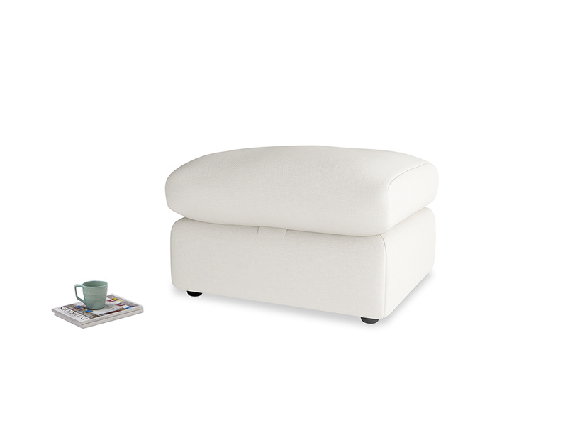 Chatnap Storage Footstool in Oyster white clever linen