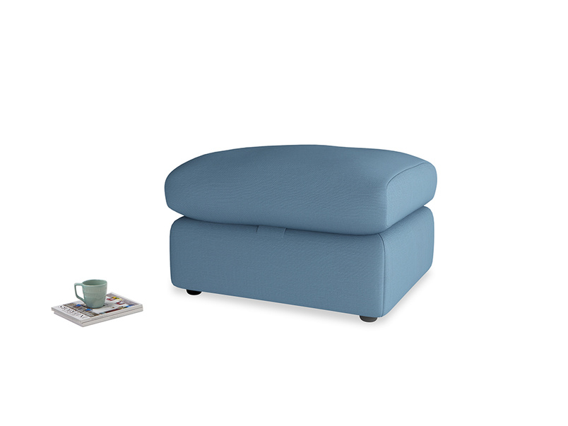 Chatnap Storage Footstool in Easy blue clever linen
