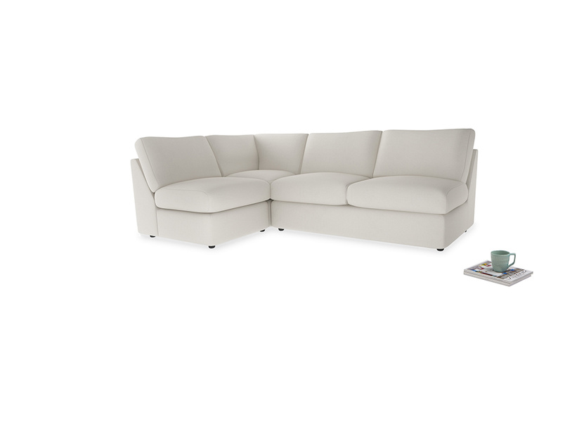 Large left hand Chatnap modular corner sofa bed in Oyster white clever linen