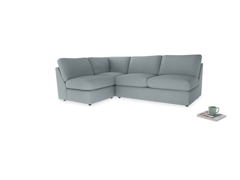 Large left hand Chatnap modular corner sofa bed in Quail's egg clever linen