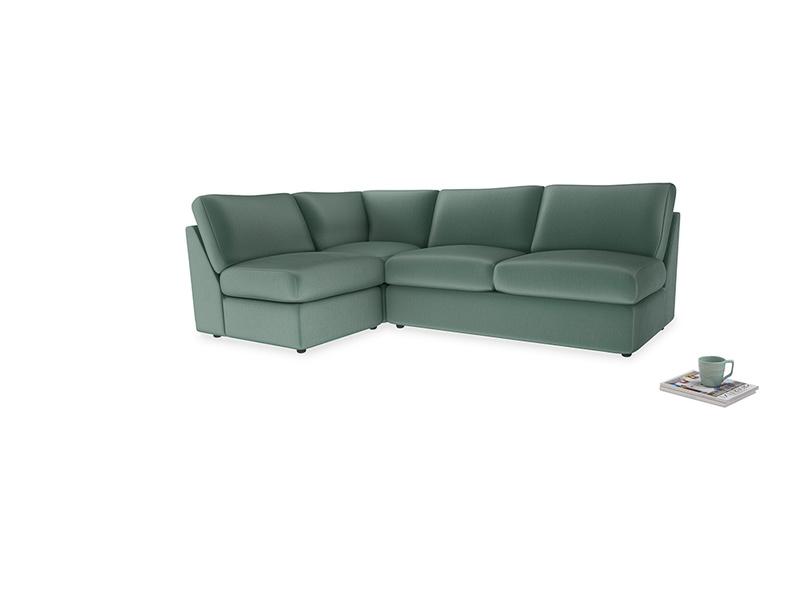 Large left hand Chatnap modular corner storage sofa in Sea blue vintage velvet