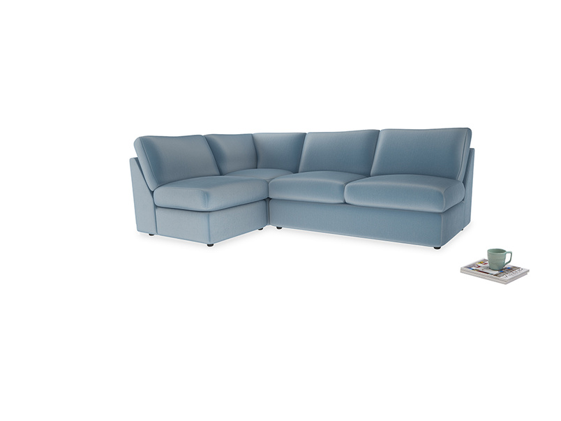 Large left hand Chatnap modular corner storage sofa in Chalky blue vintage velvet