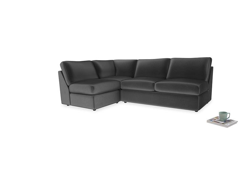 Large left hand Chatnap modular corner storage sofa in Scuttle grey vintage velvet