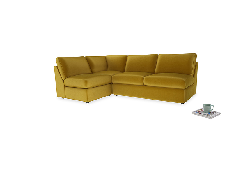 Large left hand Chatnap modular corner storage sofa in Burnt yellow vintage velvet
