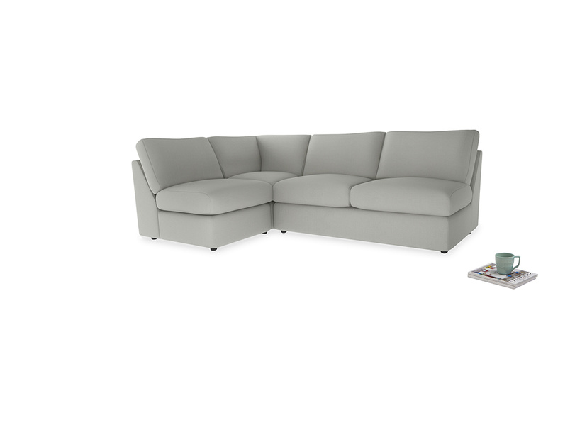 Large left hand Chatnap modular corner storage sofa in Mineral grey clever linen