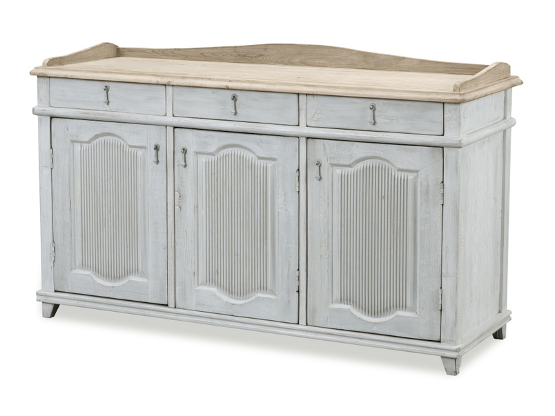 Grand Teardrop vintage french wooden antique style grey sideboard