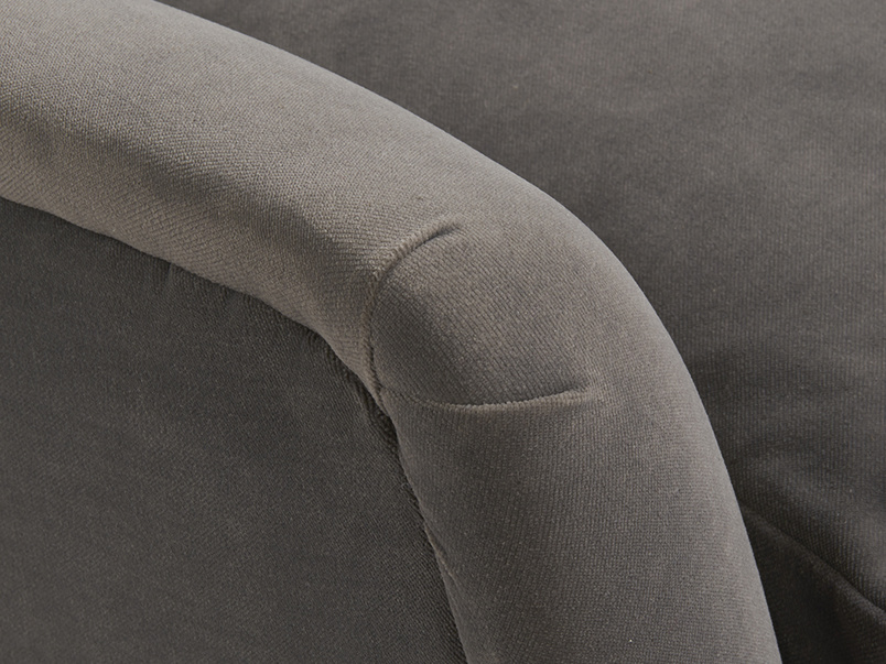 Pleated arm detail of Berlin vintage inspired retro sofa handmade in Britain