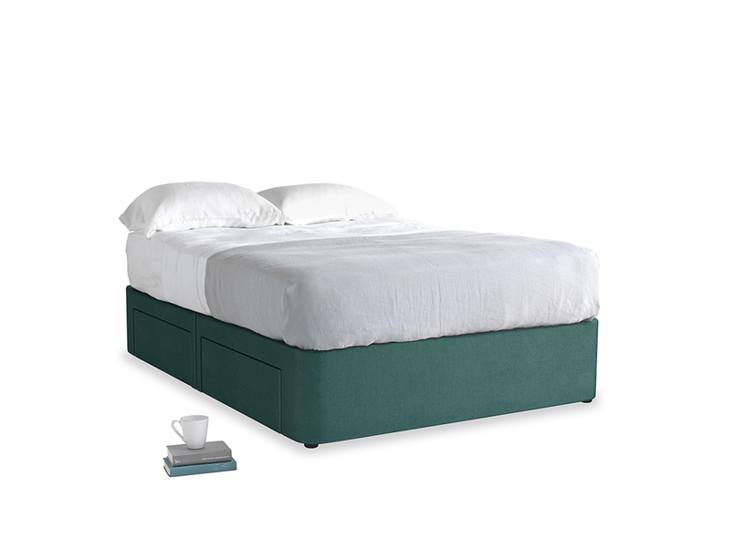 Double Tight Space Storage Bed in Timeless teal vintage velvet