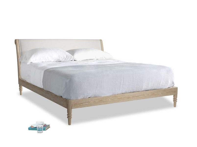 Superking Darcy Bed in Lunar Grey washed cotton linen