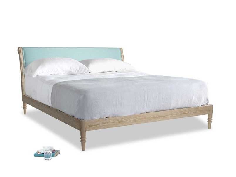 Superking Darcy Bed in Adriatic washed cotton linen