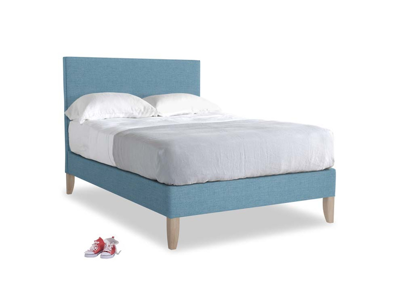 Double Piper Bed in Moroccan blue clever woolly fabric
