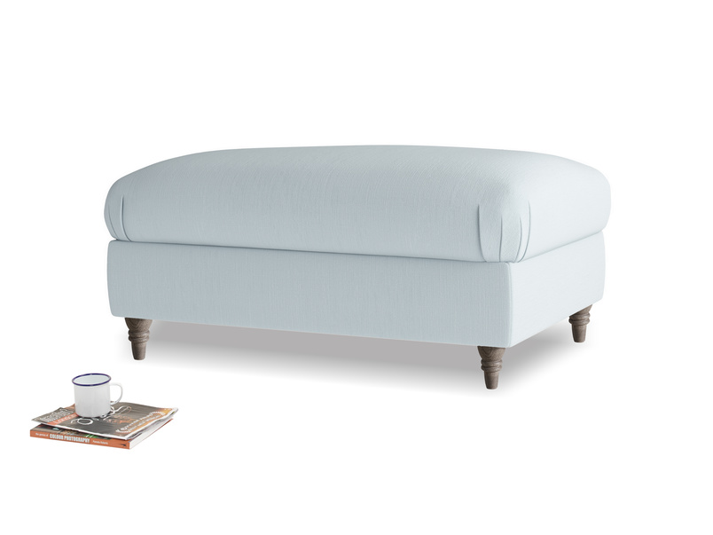 Rectangle Flatster Footstool in Scandi blue clever cotton