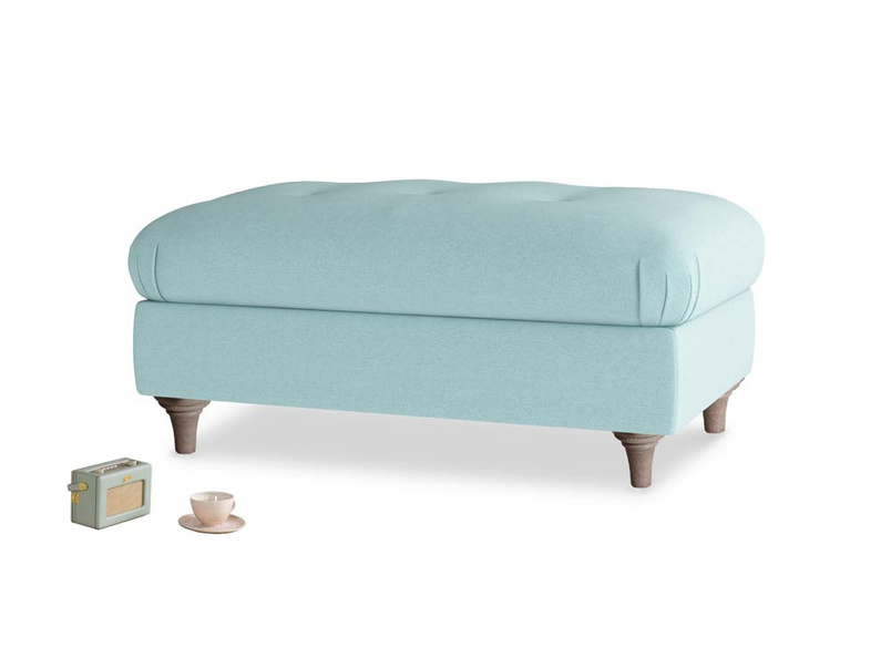 Rectangle Jammy Dodger Footstool in Adriatic washed cotton linen
