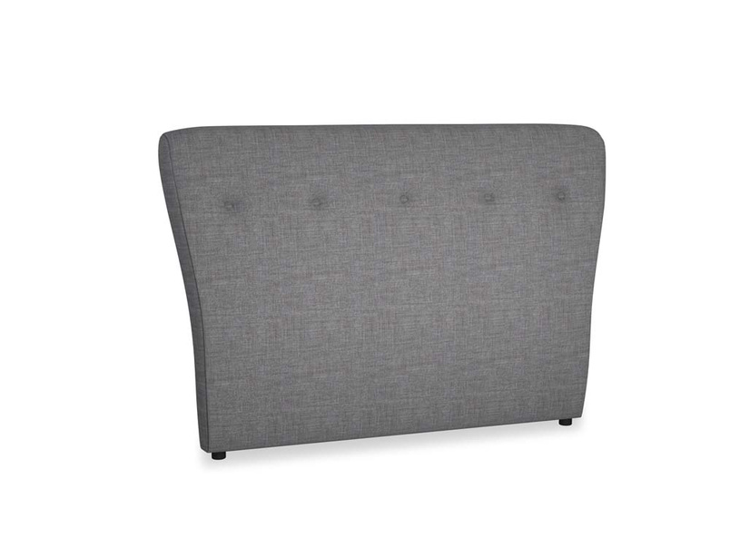 Double Smoke Headboard in Strong grey clever woolly fabric
