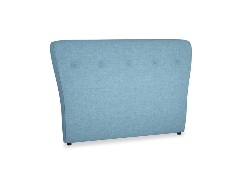 Double Smoke Headboard in Moroccan blue clever woolly fabric
