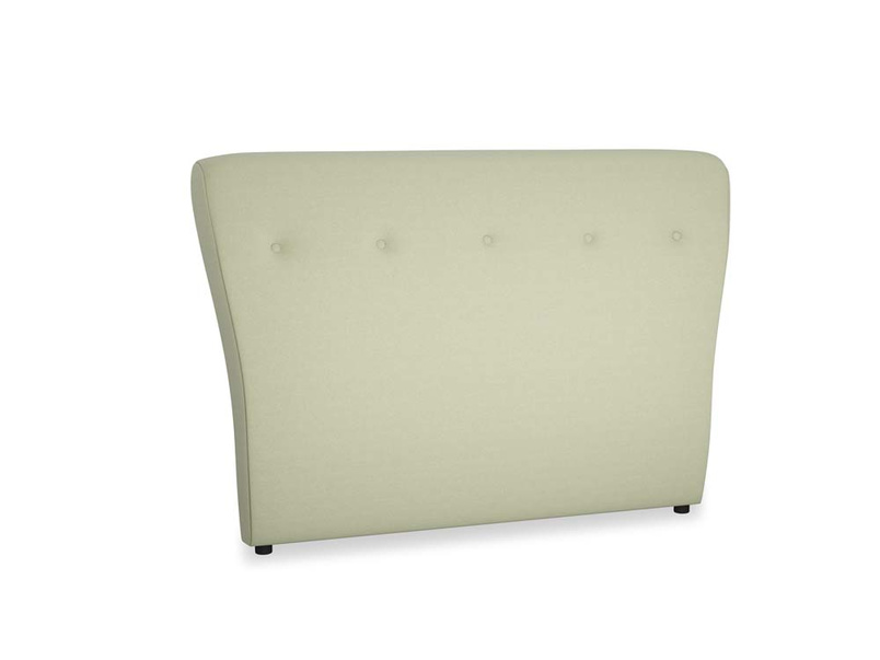 Double Smoke Headboard in Old sage washed cotton linen