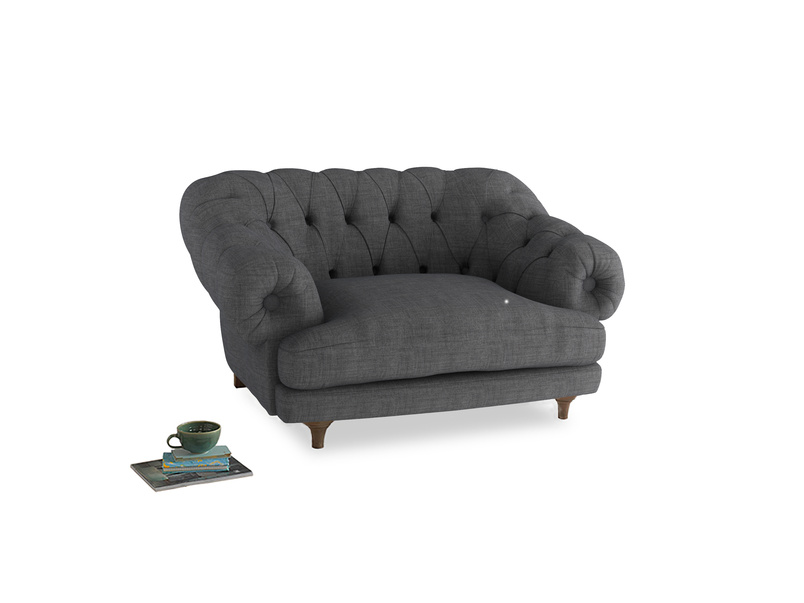 Bagsie Love Seat in Strong grey clever woolly fabric