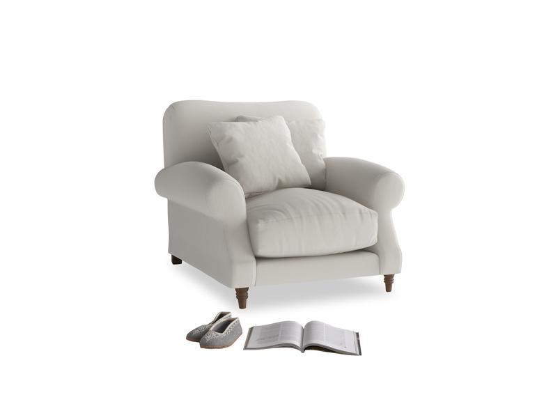Crumpet Armchair in Moondust grey clever cotton