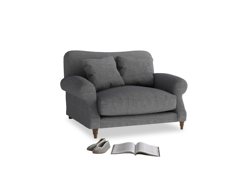 Crumpet Love seat in Strong grey clever woolly fabric