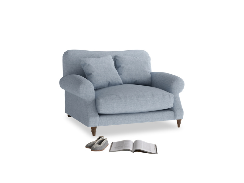 Crumpet Love seat in Frost clever woolly fabric