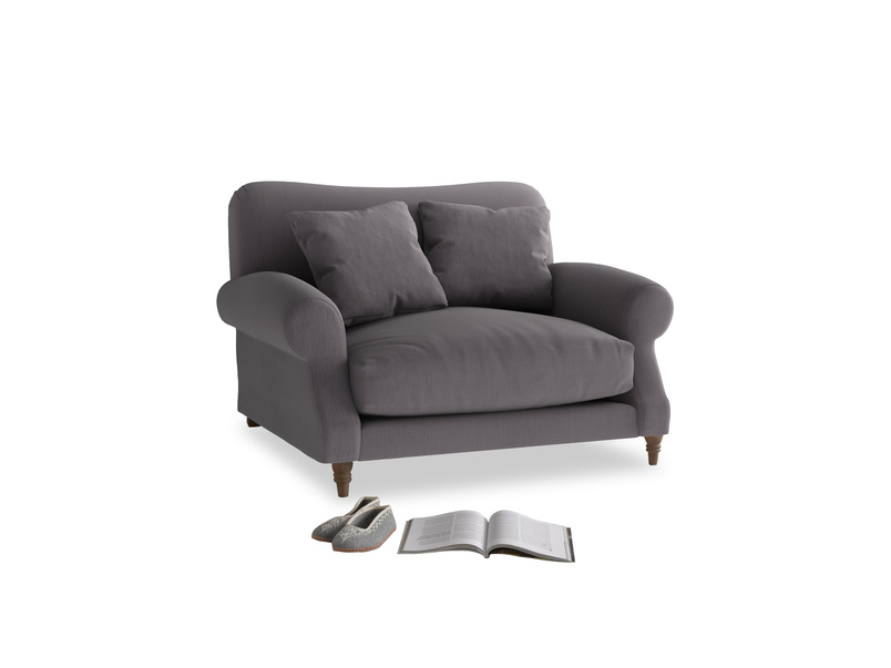 Crumpet Love seat in Graphite grey clever cotton