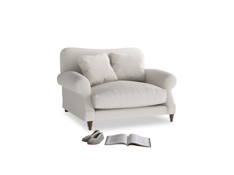 Crumpet Love seat in Chalk clever cotton