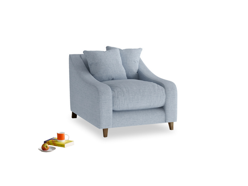 Oscar Armchair in Frost clever woolly fabric