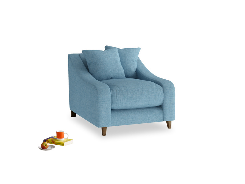 Oscar Armchair in Moroccan blue clever woolly fabric