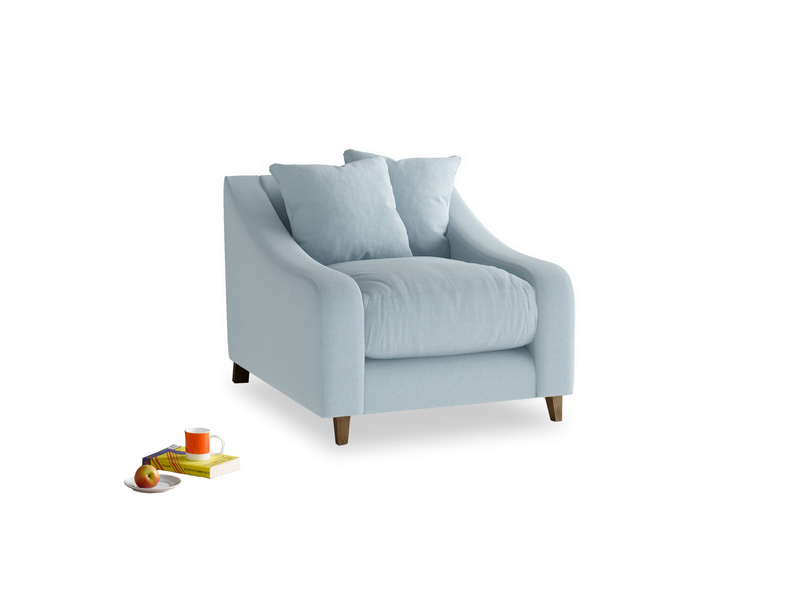 Oscar Armchair in Soothing blue washed cotton linen