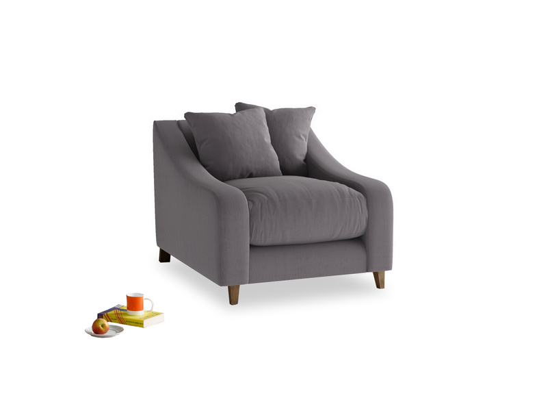 Oscar Armchair in Graphite grey clever cotton