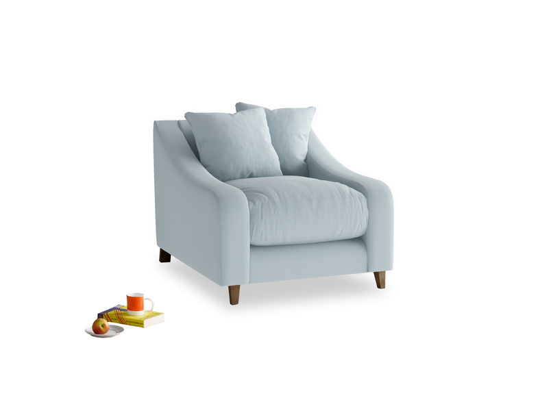 Oscar Armchair in Scandi blue clever cotton