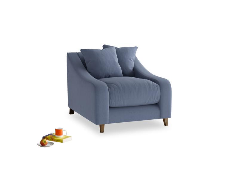 Oscar Armchair in Breton blue clever cotton