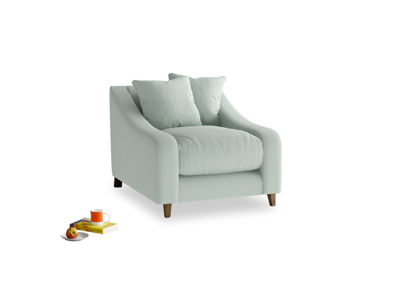 Oscar Armchair in Sea surf clever cotton