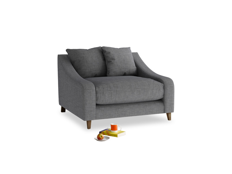 Oscar Love seat in Strong grey clever woolly fabric
