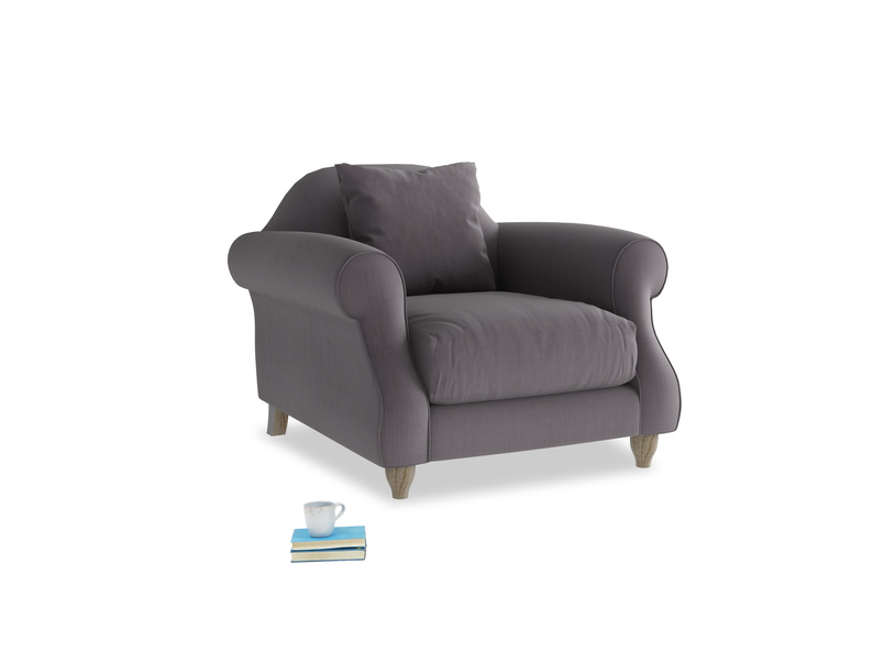 Sloucher Armchair in Graphite grey clever cotton