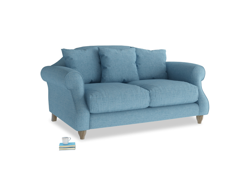 Small Sloucher Sofa in Moroccan blue clever woolly fabric