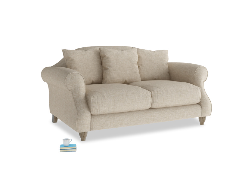 Small Sloucher Sofa in Flagstone clever woolly fabric