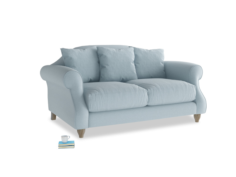 Small Sloucher Sofa in Soothing blue washed cotton linen