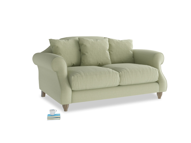 Small Sloucher Sofa in Old sage washed cotton linen
