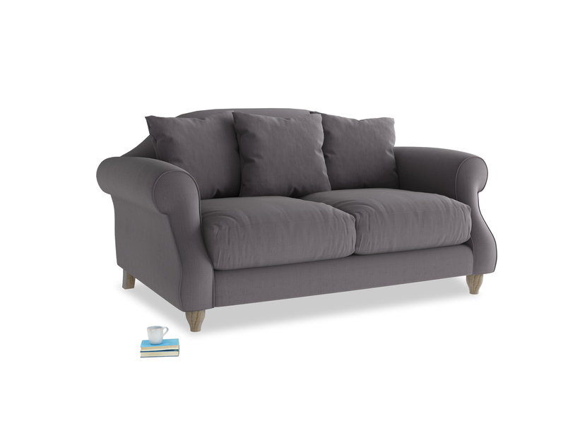 Small Sloucher Sofa in Graphite grey clever cotton