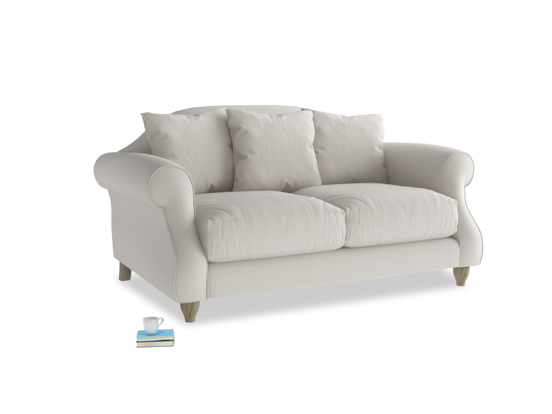 Small Sloucher Sofa in Moondust grey clever cotton