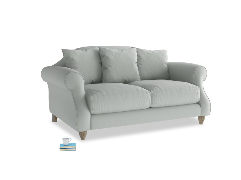 Small Sloucher Sofa in Eggshell grey clever cotton