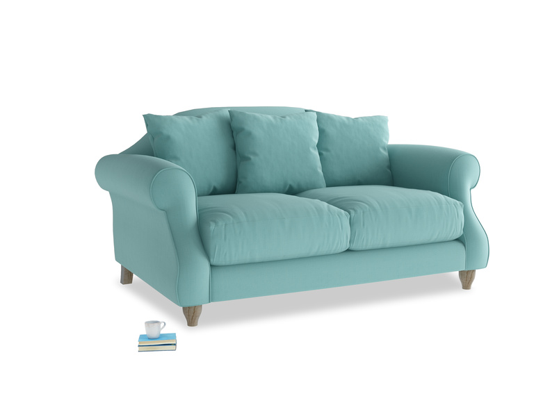 Small Sloucher Sofa in Kingfisher clever cotton