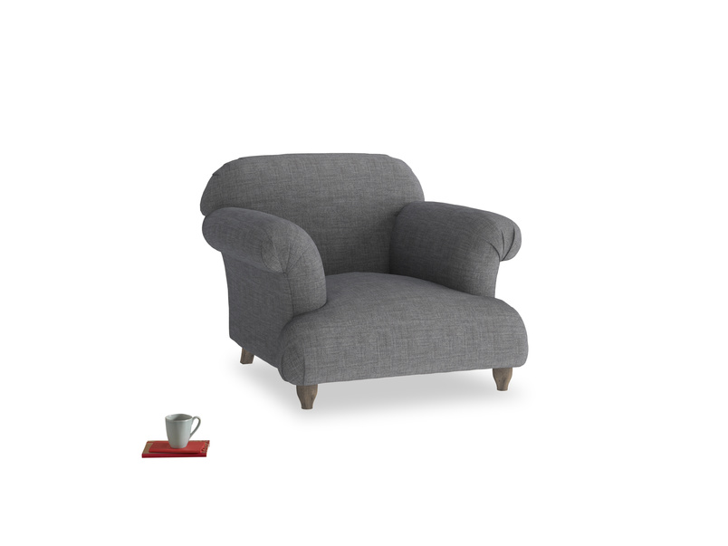 Soufflé Armchair in Strong grey clever woolly fabric