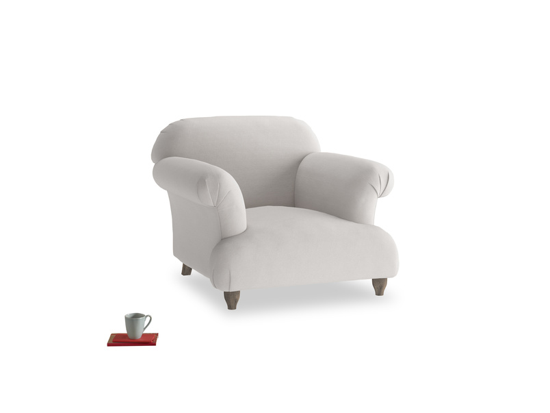 Soufflé Armchair in Lunar Grey washed cotton linen
