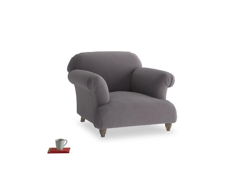 Soufflé Armchair in Graphite grey clever cotton