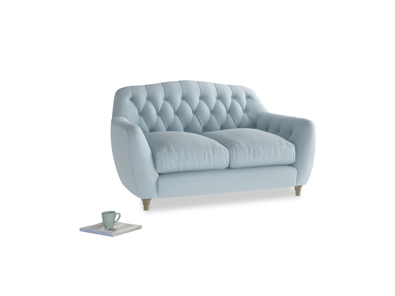 Small Butterbump Sofa in Soothing blue washed cotton linen
