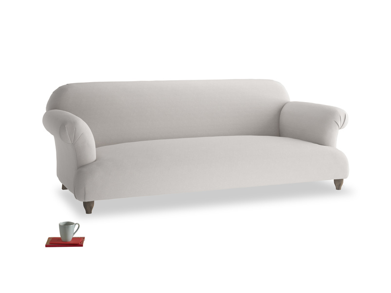 Large Soufflé Sofa in Lunar Grey washed cotton linen