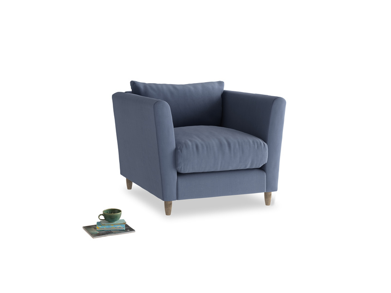 Flopster Armchair in Breton Blue Clever Cotton